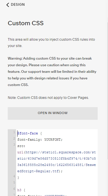 CSS code for squarespace